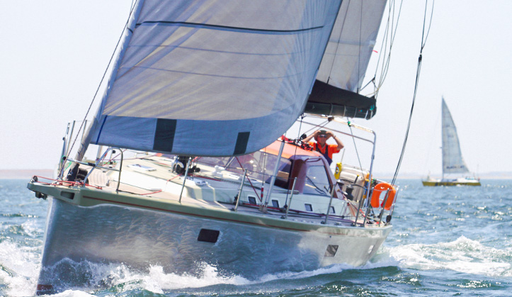 Unwind Simonis Voogd 49 fast cruiser in False Bay Cape Town, designed by Dutch yacht design team Simonis Voogd and built by Jacobs Bros, for circumnavigation by Dutch couple.